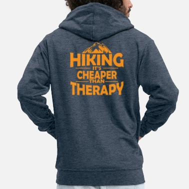 Sport Climbing Hiking therapy mountains saying gift - Men's Premium Zip Hoodie