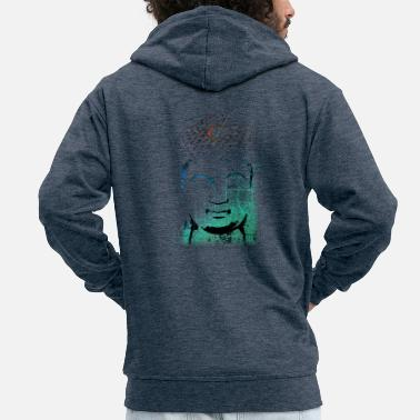 Cotton Buddha in blue and green shades - Men's Premium Zip Hoodie