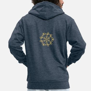 Snowflake pattern symmetry yellow squiggle - Men's Premium Zip Hoodie