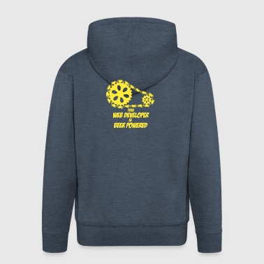 This web developer is beer powered - Men's Premium Hooded Jacket