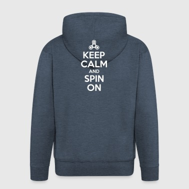 Keep Calm and Spin On - Men's Premium Hooded Jacket