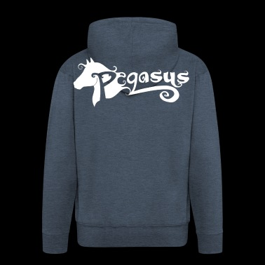 Pegasus White Logo - Men's Premium Hooded Jacket