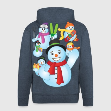 Snowman Scene - Men's Premium Hooded Jacket