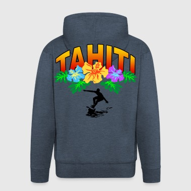 tahiti surfing - Men's Premium Hooded Jacket