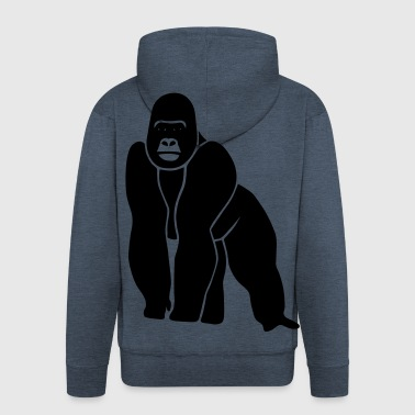 gorilla ape monkey king kong godzilla silver back orang utan - Men's Premium Hooded Jacket