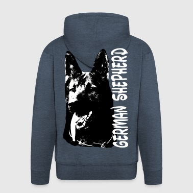 German shepherd, dogs, dog head, dog sport - Men's Premium Hooded Jacket