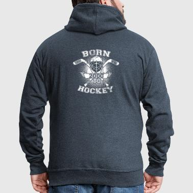 born to hockey icehockey gift 2000 - Men's Premium Hooded Jacket