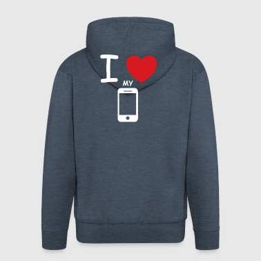 I love my mobile saying gift idea - Men's Premium Hooded Jacket