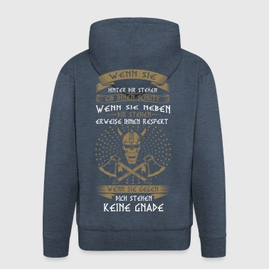 Vikings, no mercy - Men's Premium Hooded Jacket