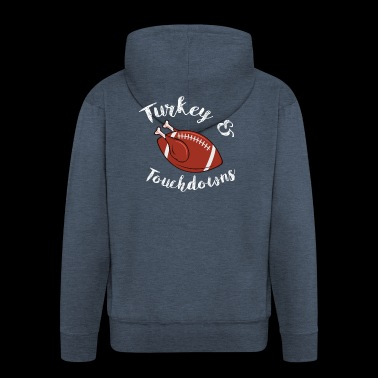 Thanksgiving Turkey and Touchdowns Football - Men's Premium Hooded Jacket