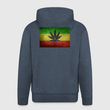 Jamaica Flag and Marijuana - Men's Premium Hooded Jacket