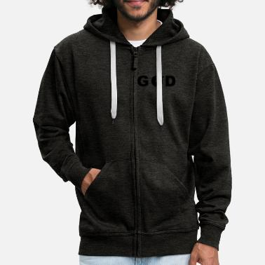 Funny GOD is a DJ - Men's Premium Zip Hoodie