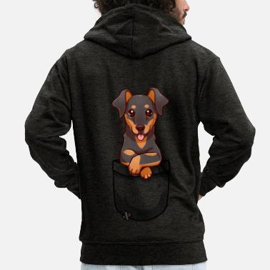 Pocket Cute Dobermann Dog - Men's Premium Hooded Jacket