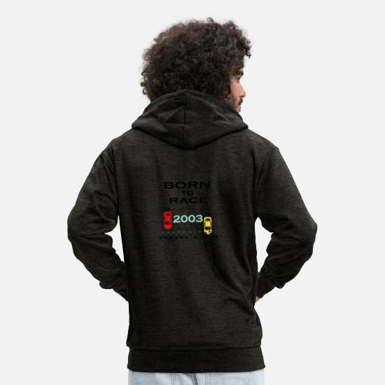 Love Hoodies & Sweatshirts - Born To Race Racing - Men's Premium Zip Hoodie charcoal grey