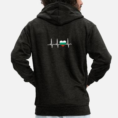 Bulgaria I LOVE ekg heartbeat Bulgaria Bulgaria - Men's Premium Hooded Jacket