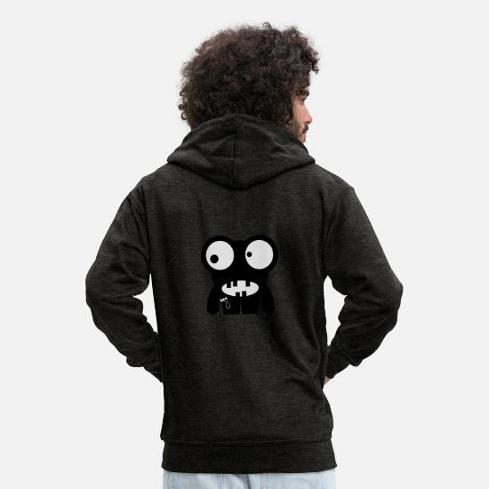Frog Hoodies & Sweatshirts - Monster Frog - Men's Premium Zip Hoodie charcoal grey