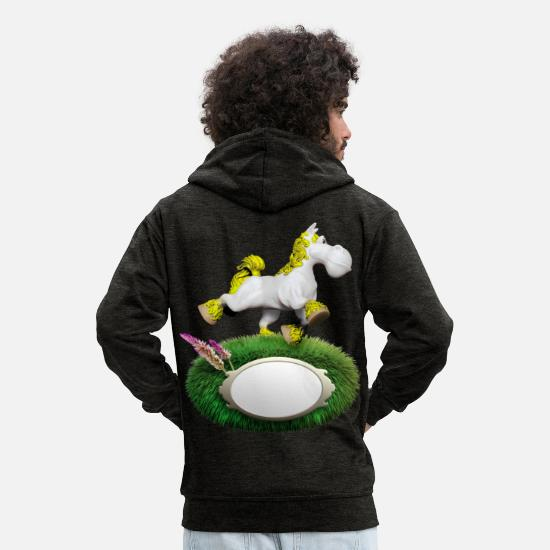 Horse Hoodies & Sweatshirts - Pony yellow - Men's Premium Zip Hoodie charcoal grey