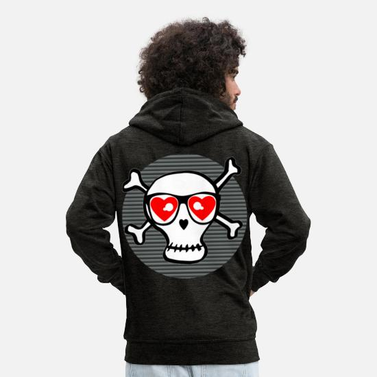 Gift Idea Hoodies & Sweatshirts - Scull with a view - Men's Premium Zip Hoodie charcoal grey