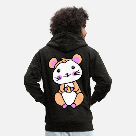 Pet Hoodies & Sweatshirts - Hamster rodent fantasy children hunger - Men's Premium Zip Hoodie charcoal grey