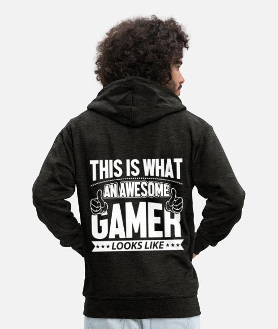Gaming Hoodies & Sweatshirts - Gaming Gaming Gaming Gaming Gaming Gaming - Men's Premium Zip Hoodie charcoal grey