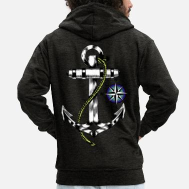 Rose Maritime anchor windrose - Men's Premium Zip Hoodie