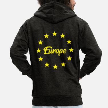Europe with yellow stars - Men's Premium Zip Hoodie