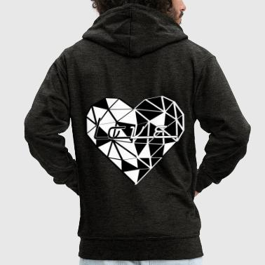 LOVE TRIANGLE black and white - Men's Premium Hooded Jacket
