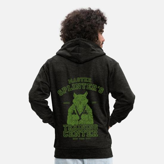 Martial Arts Hoodies & Sweatshirts - TMNT Master Splinter - Men's Premium Zip Hoodie charcoal grey