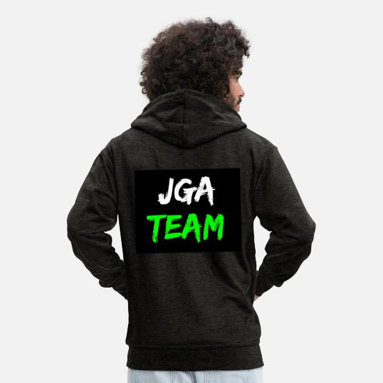 Alcohol Hoodies & Sweatshirts - JGA team logo for stag or hen parties - Men's Premium Zip Hoodie charcoal grey