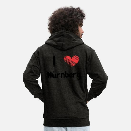 Love Hoodies & Sweatshirts - I love Nuremberg - Men's Premium Zip Hoodie charcoal grey