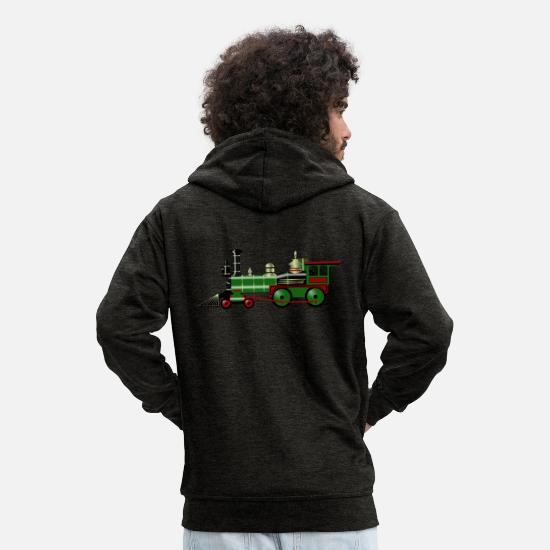 Transport Pullover & Hoodies - eisenbahn zug tram train railroad railway locomoti - Männer Premium Kapuzenjacke Anthrazit