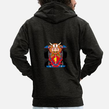 I Heart Bull - cow - bull - cattle - racing car - Men's Premium Zip Hoodie
