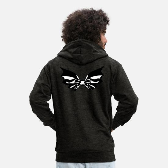 Tattoo Hoodies & Sweatshirts - Gothic wings - Men's Premium Zip Hoodie charcoal grey
