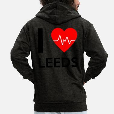 Leeds I Love Leeds I love Leeds - Men's Premium Hooded Jacket