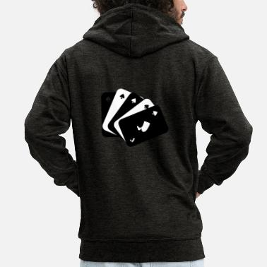 Playing Playing cards black and white - Men's Premium Hooded Jacket