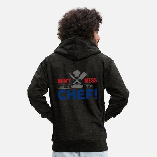 Birthday Hoodies & Sweatshirts - Do not mess with the BOSS! Cooking chef gift - Men's Premium Zip Hoodie charcoal grey