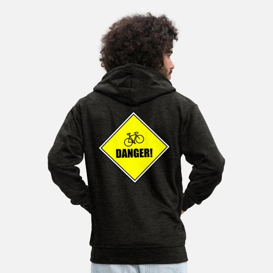 Triathlet Hoodies & Sweatshirts - Attention! Fahhrrad - Men's Premium Zip Hoodie charcoal grey
