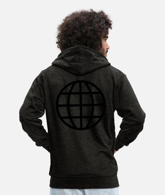 Travel Hoodies & Sweatshirts - World - Men's Premium Zip Hoodie charcoal grey