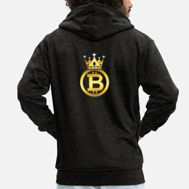 King Bitcoin King - Men's Premium Zip Hoodie