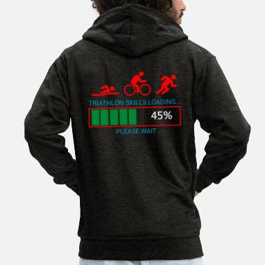 Biker Triathlon Swim Bike Run - Men's Premium Zip Hoodie