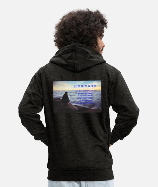 Attitude To Life Hoodies & Sweatshirts - Live your own life - Men's Premium Zip Hoodie charcoal grey