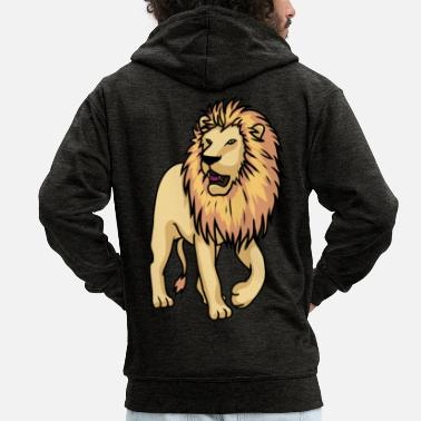 Drawing Proud cool lion Majesty drawing - Men's Premium Zip Hoodie