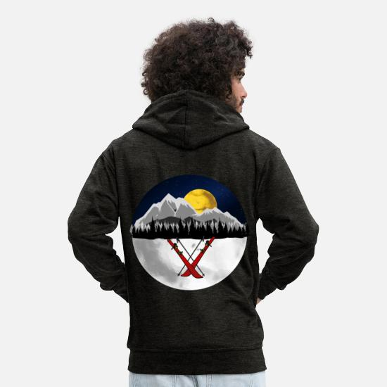 Gift Idea Hoodies & Sweatshirts - Xmas winter sport cross-country skiing skier - Men's Premium Zip Hoodie charcoal grey