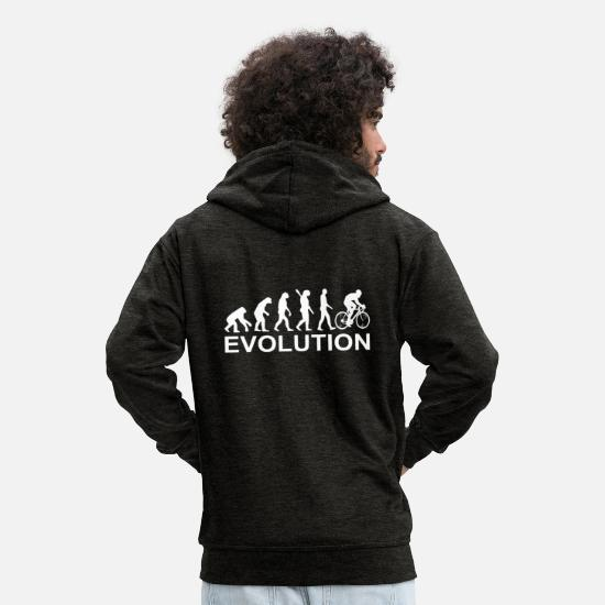Gift Idea Hoodies & Sweatshirts - evolution bike cycling - Men's Premium Zip Hoodie charcoal grey