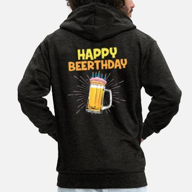 Happy Birthday Happy Beerthday Birthday Beer Gift - Felpa con zip premium uomo