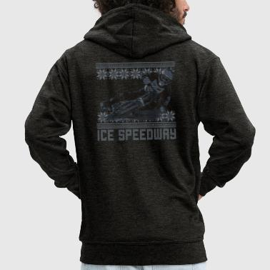 Speedway Ugly Sweater Ice Speedway Design - Men's Premium Hooded Jacket