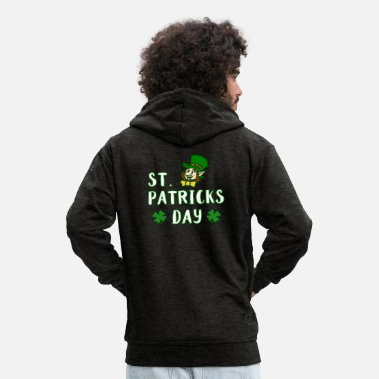Day Hoodies & Sweatshirts - St Patricks Day Shirt - Men's Premium Zip Hoodie charcoal grey