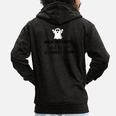 Ghastly Where does a ghost refuel his car? - Men's Premium Hooded Jacket