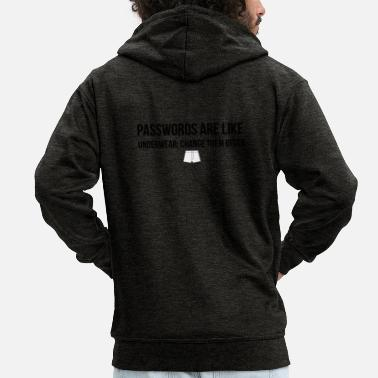 Underwear Passwords are like underwear - Men's Premium Zip Hoodie
