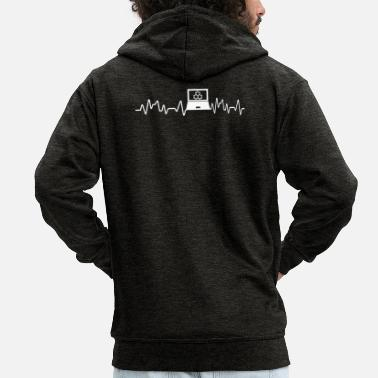 Pc Administrator Art Heartbeat PC Scientist T-Shirt Gift - Men's Premium Zip Hoodie